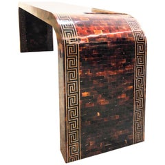 Waterfall Tessellated Horn  Brass Console with Inlaid Greek Key, 1980s