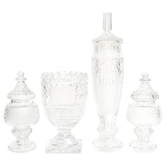Waterford Cut Crystal Horse Racing Vase and Jar Trophy Awards Group of 4