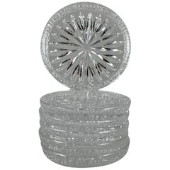 Waterford Lead Crystal Star Cut Colorless Drink Coasters, Set of Six