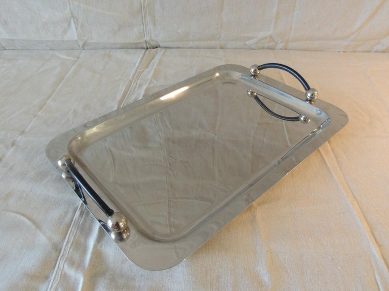 Mid-Century Modern Waterford Polish Stainless Rectangular Serving Tray with Leather Handles For Sale