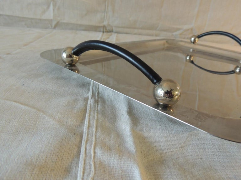 Northern Irish Waterford Polish Stainless Rectangular Serving Tray with Leather Handles For Sale