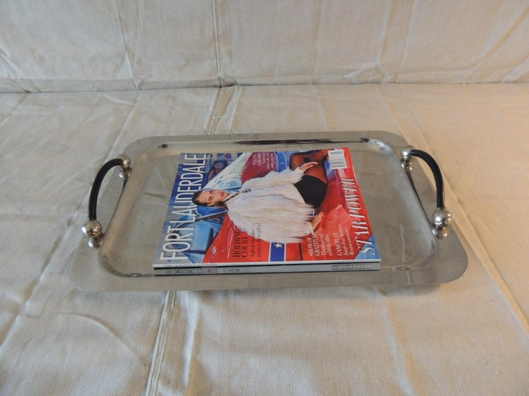 Waterford Polish Stainless Rectangular Serving Tray with Leather Handles In Good Condition For Sale In Wilton Manors, FL
