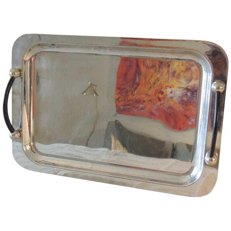 Waterford Polish Stainless Rectangular Serving Tray with Leather Handles For Sale