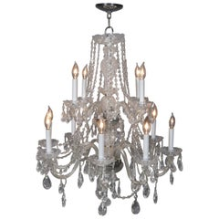 Waterford School French Style 12-Light Tiered Branch Crystal Chandelier