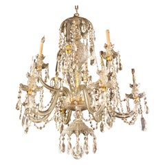 Waterford Style 1940 Cut Crystal Chandelier with Palatial Center Column Sphere