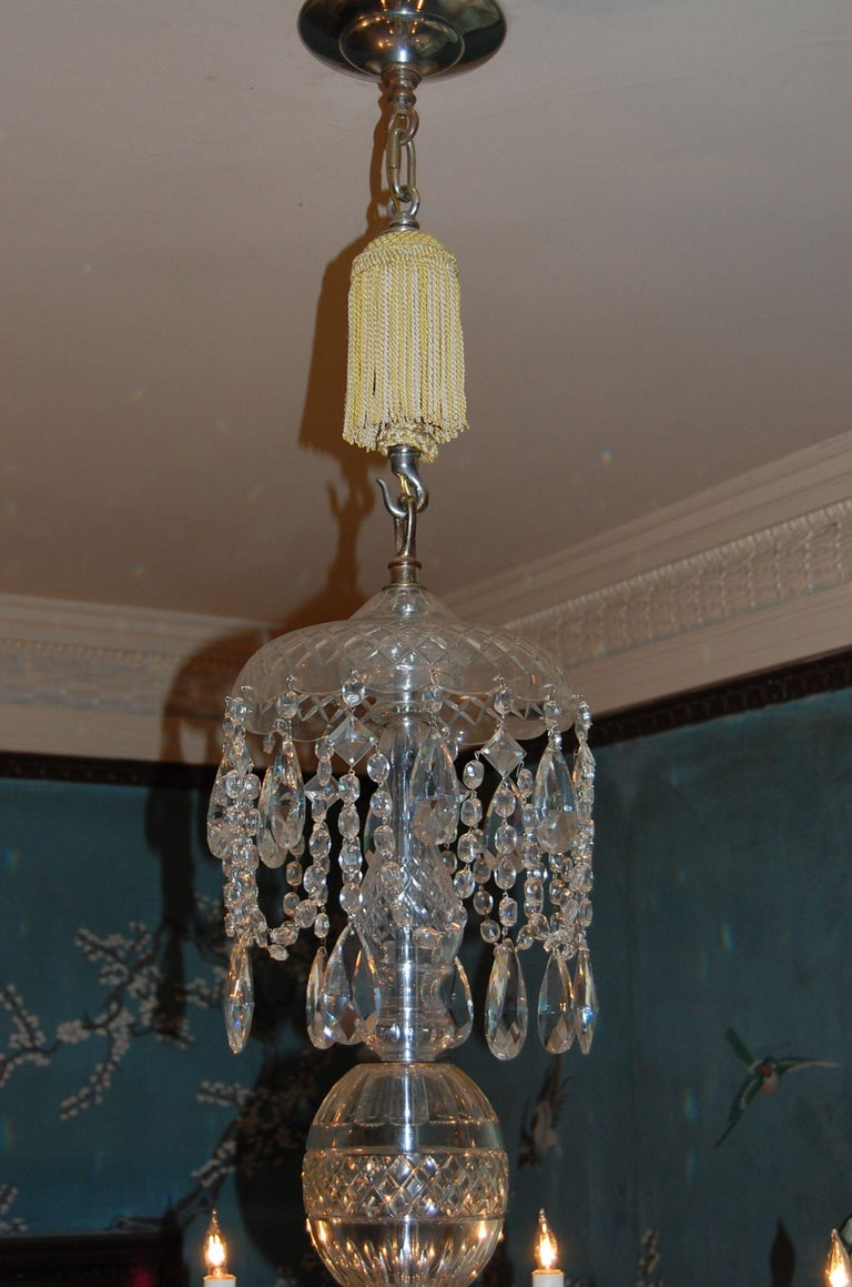 British Waterford Style Georgian Cut Crystal Eight-Light Chandelier, circa 1910 For Sale
