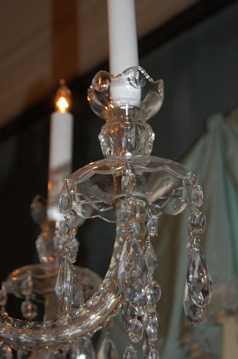 Waterford Style Georgian Cut Crystal Eight-Light Chandelier, circa 1910 For Sale 1