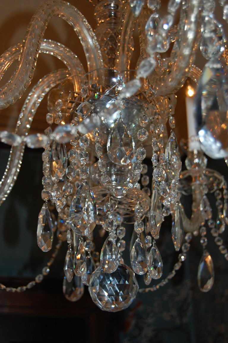 Waterford Style Georgian Cut Crystal Eight-Light Chandelier, circa 1910 For Sale 2