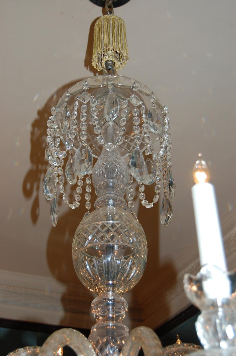 Waterford Style Georgian Cut Crystal Eight-Light Chandelier, circa 1910 For Sale 3