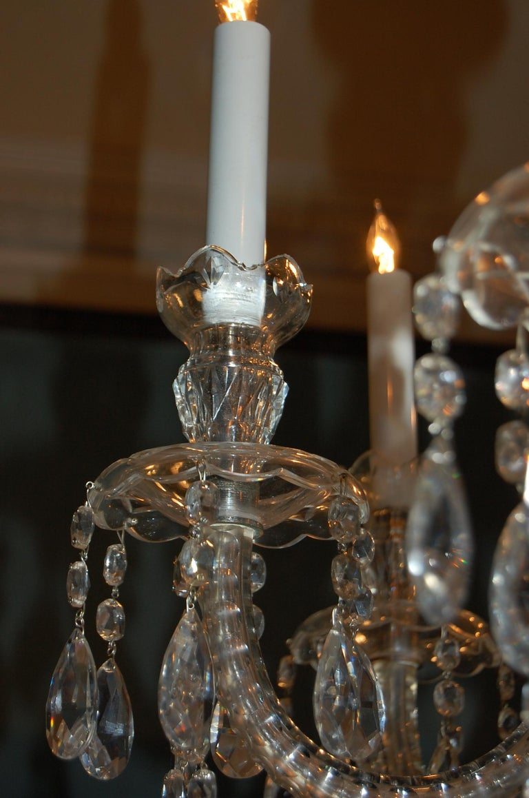Waterford Style Georgian Cut Crystal Eight-Light Chandelier, circa 1910 For Sale 4