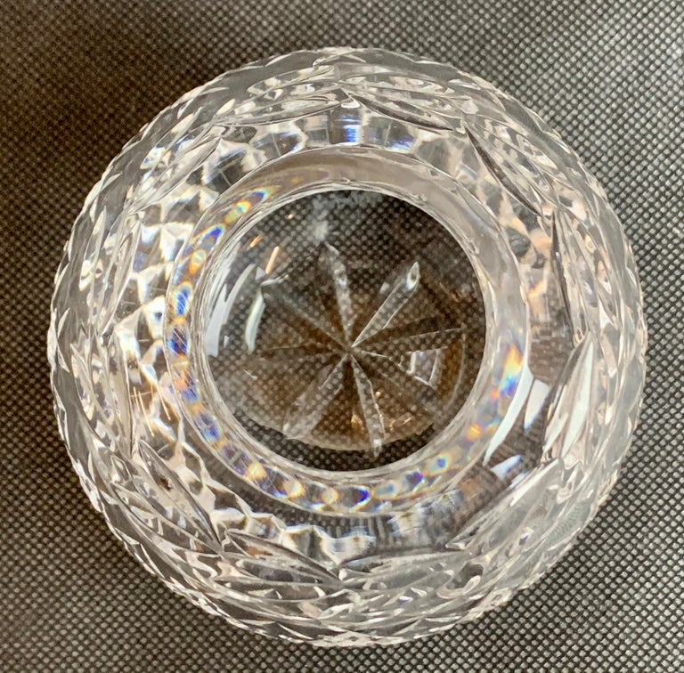 Victorian Vintage Waterford Cut Lead Crystal Rose Bowl in the Glandore Pattern
