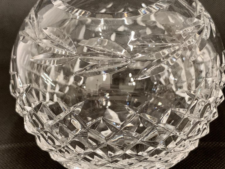Late 20th Century Vintage Waterford Cut Lead Crystal Rose Bowl in the Glandore Pattern