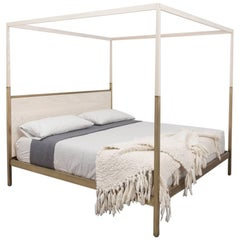 Waterline Canopy Bed by Uhuru Design in Whitewashed Ash and Brass
