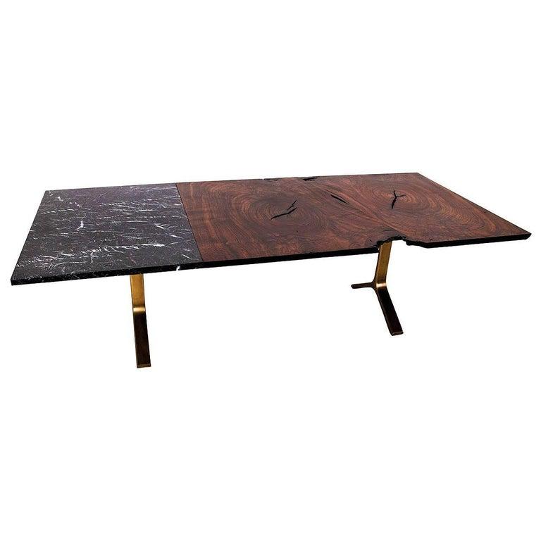 Waterline Dining Table by Uhuru Design, Walnut Slab, Marble and Brass