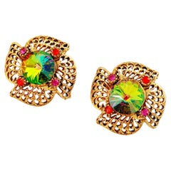 Watermelon Rivoli Vitrail Crystal Golden Filigree Statement Earrings, 1950s