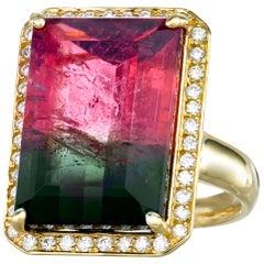 Watermelon Tourmaline 17.29 Carat Diamond 18 Karat Gold Cocktail Ring