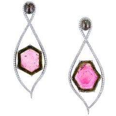 Watermelon Tourmaline and Green Rose-Cut Diamond Drop Earrings