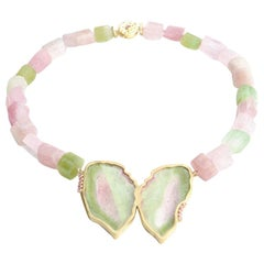 Watermelon Tourmaline and Pink Sapphire Bella the Butterfly Necklace