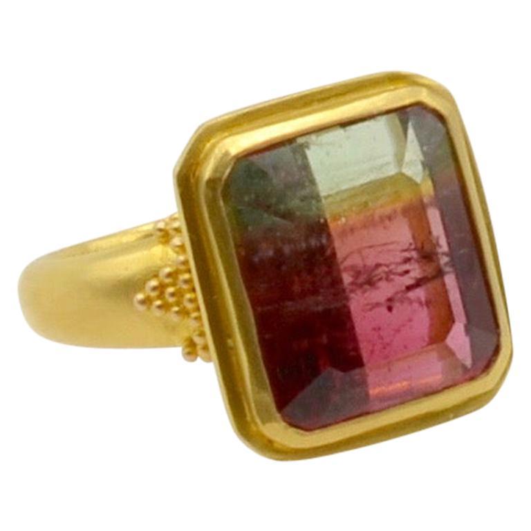 Watermelon Tourmaline Bi Color 22 Karat Gold Ring For Sale