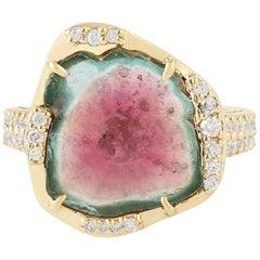 Watermelon Tourmaline Diamond 18 Karat Gold Ring