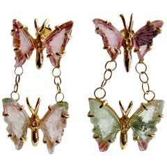 Watermelon Tourmaline Double Butterfly Earrings, Le Papillon II Earrings