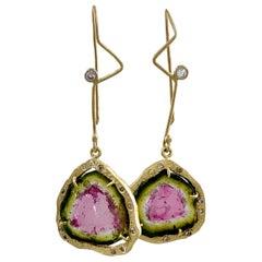 Watermelon Tourmaline Slice Dangle Earrings with Diamond Halos in 18 Karat Gold