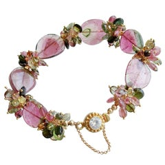 Watermelon Tourmaline Slices & Cluster Bracelet, Clarissa VII Bracelet