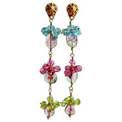 Watermelon Tourmaline Slices Peridot Pink Topaz Apatite Duster Earrings