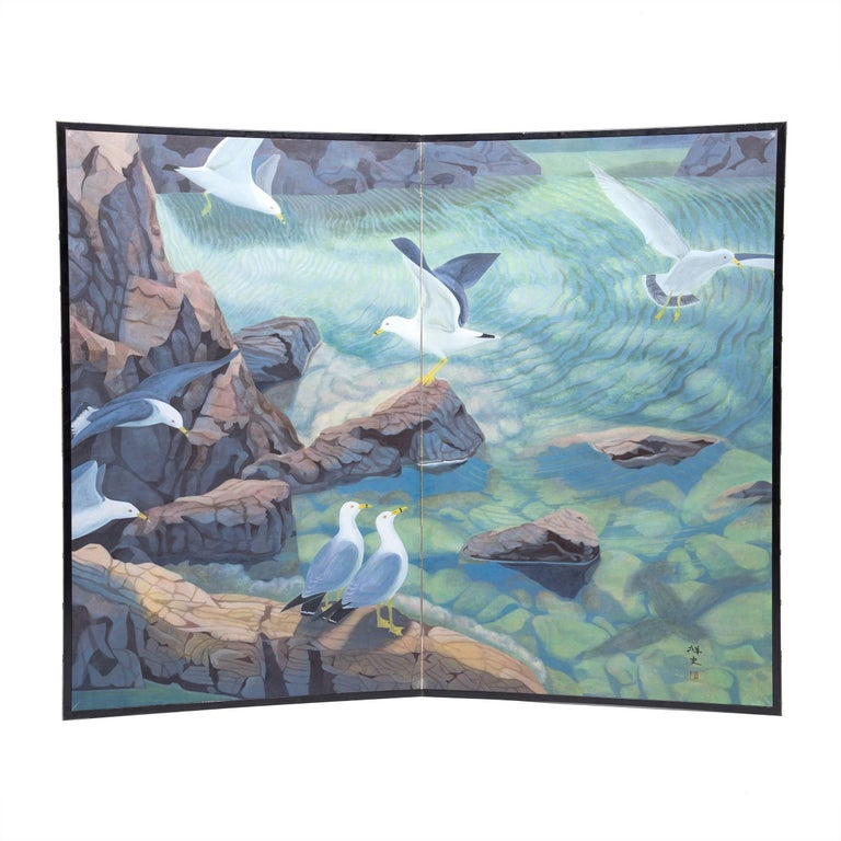"""Water's Edge"" Two-Panel Japanese Byobu Screen"