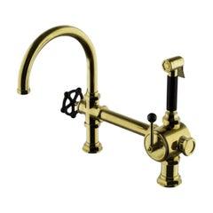 Waterworks Regulator Gooseneck Brass Kitchen Faucet, Spray, Black