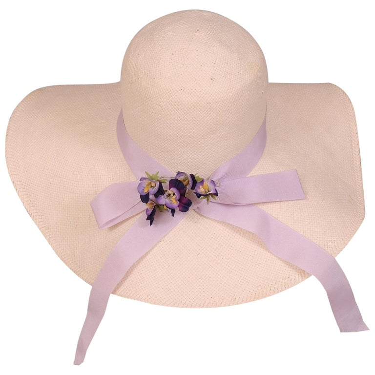 Wathne White Straw Hat with Violets For Sale