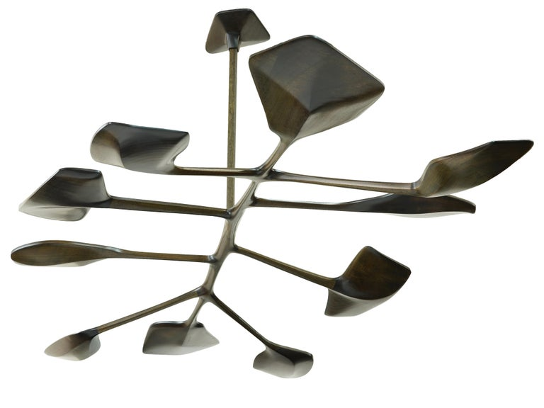 American WatiyaJuta Organic Sculptural Wooden Sapele, Leaf-like, Contemporary Chandelier For Sale
