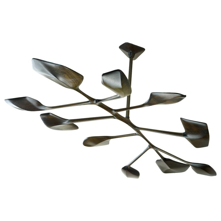 WatiyaJuta Organic Sculptural Wooden Sapele, Leaf-like, Contemporary Chandelier For Sale