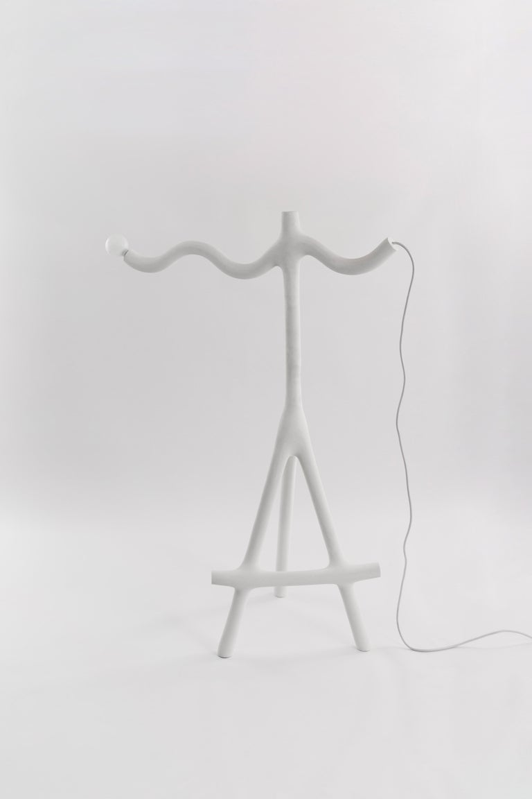 Wave and sticks lamp by HWE Limited edition Materials: Waste SLS 3D nylon powder, Sand from sustainable sources Dimensions: H 167 x W 112 x D 52 cm  Colour: white  All our lamps can be wired according to each country. If sold to the USA it