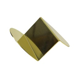 Wave Business Card Holder from Souda, Brass, In Stock