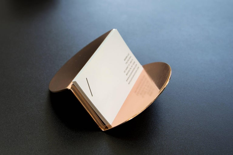 Chinese Wave Business Card Holder from Souda, Copper, in Stock For Sale