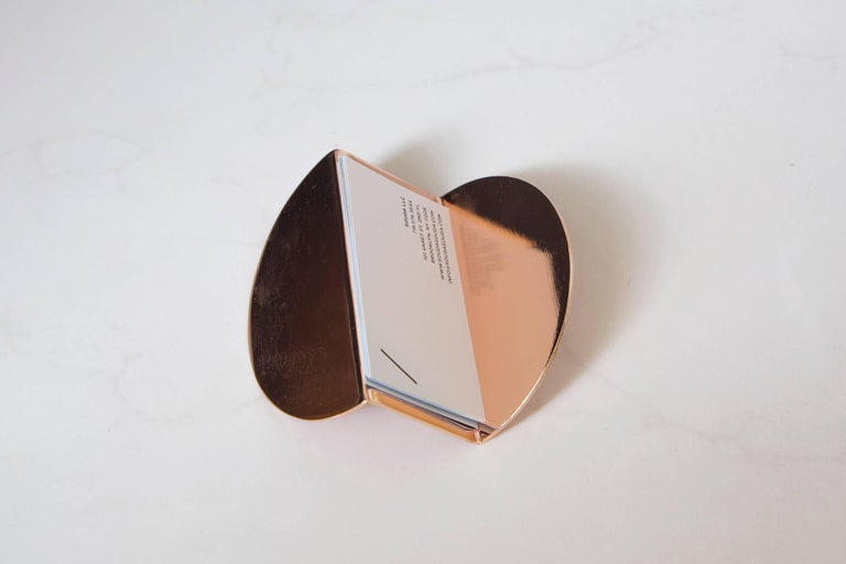 Plated Wave Business Card Holder from Souda, Copper, in Stock For Sale