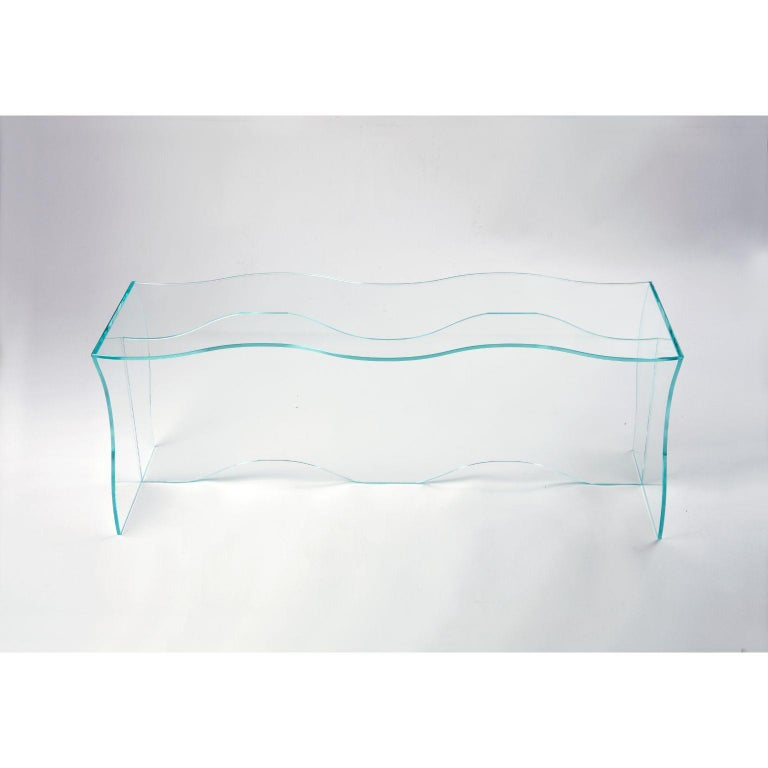 South Korean Wave Clear Glass Coffee Table Sculpted by Studio-Chacha For Sale