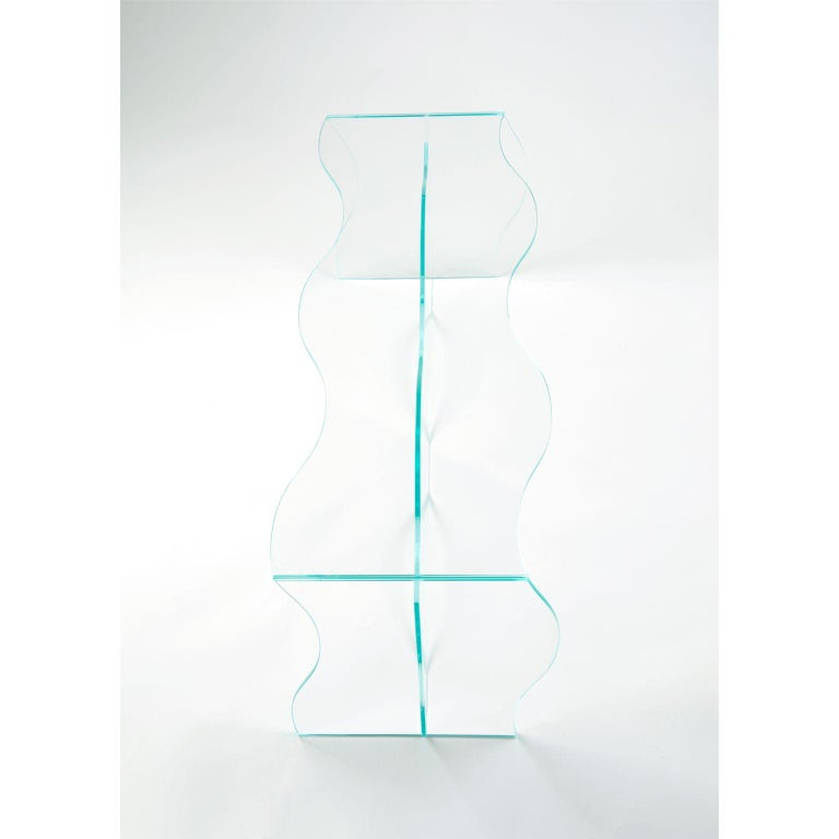 Wave Clear Glass Coffee Table Sculpted by Studio-Chacha In New Condition For Sale In Geneve, CH