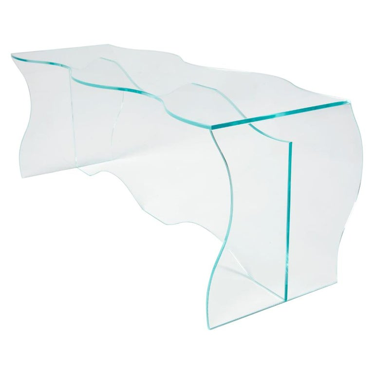 Wave Clear Glass Coffee Table Sculpted by Studio-Chacha For Sale