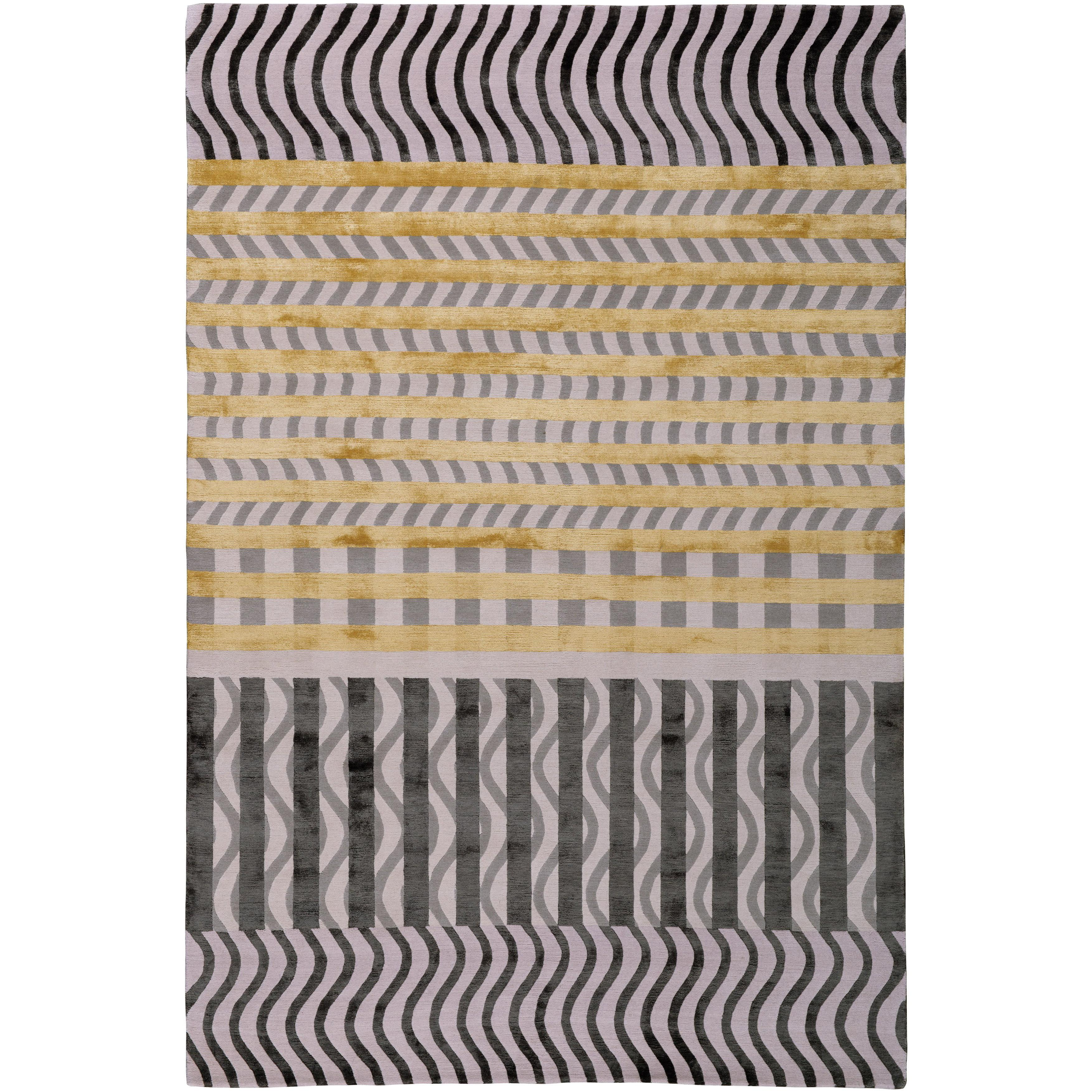 Wave Construct Hand-Knotted 10x8 Rug in Wool and Silk by Christopher Kane