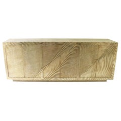 Wave Credenza in Brass Clad Over Teak