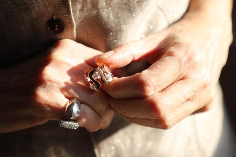 Modern Handcrafted Gold 0.90 Karat White Diamonds