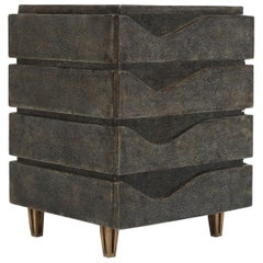 Wave Jewelry Chest in Black Shagreen and Bronze-Patina Brass by R&Y Augousti