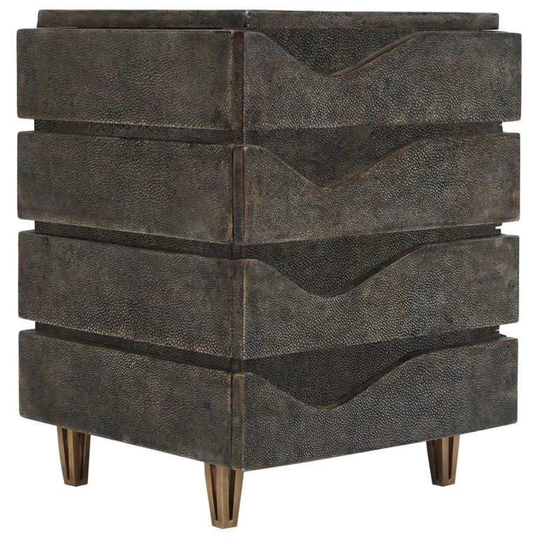 Wave Jewelry Chest in Black Shagreen and Bronze-Patina Brass by R&Y Augousti For Sale