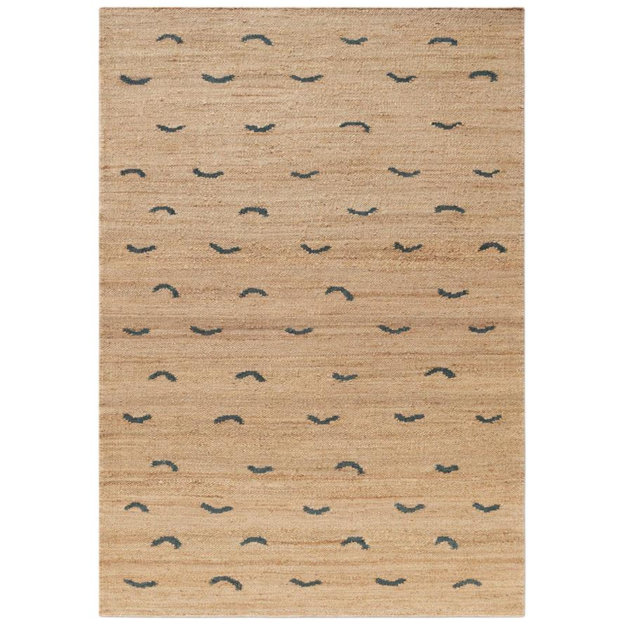 'Wave' Teal Jute Style Rug in Scandinavian Design