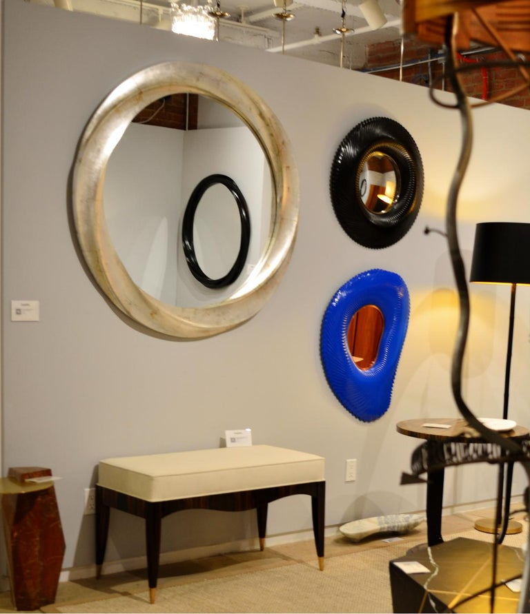 Wave series Mirror in Two-Tone Italian Silver Leaf In New Condition For Sale In Brooklyn, NY