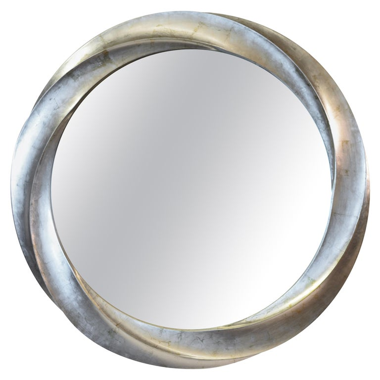 Wave series Mirror in Two-Tone Italian Silver Leaf For Sale