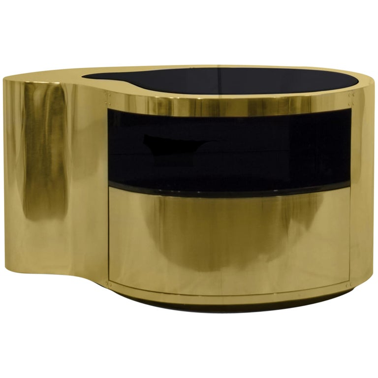 Wave Nightstand in Polished Brass For Sale