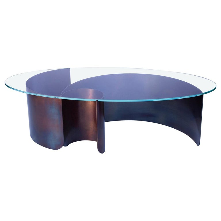 Wave Oval Coffee Table 2 in Contemporary Heat Tempered Steel and Starfire Glass For Sale